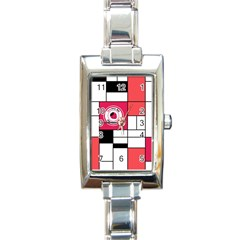 Brand Strawberry Piet Mondrian White Classic Elegant Ladies Watch (Rectangle)