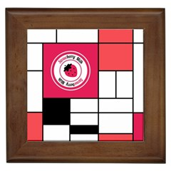 Brand Strawberry Piet Mondrian White Framed Ceramic Tile