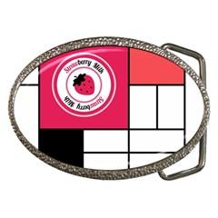 Brand Strawberry Piet Mondrian White Belt Buckle (Oval)