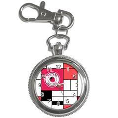 Brand Strawberry Piet Mondrian White Key Chain & Watch
