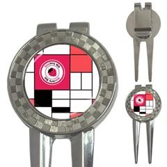 Brand Strawberry Piet Mondrian White Golf Pitchfork & Ball Marker