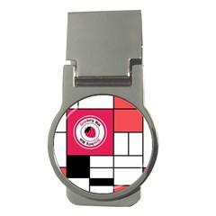 Brand Strawberry Piet Mondrian White Money Clip (round)