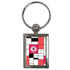 Brand Strawberry Piet Mondrian White Key Chain (rectangle)