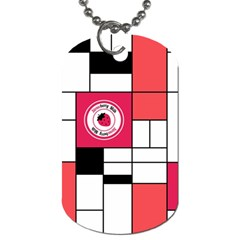 Brand Strawberry Piet Mondrian White Twin-sided Dog Tag