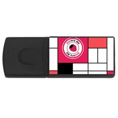 Brand Strawberry Piet Mondrian White 2Gb USB Flash Drive (Rectangle)