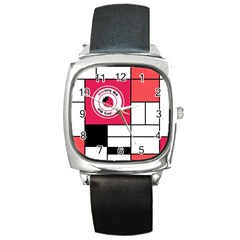 Brand Strawberry Piet Mondrian White Black Leather Watch (Square)