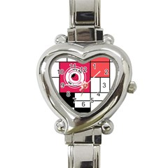 Brand Strawberry Piet Mondrian White Classic Elegant Ladies Watch (Heart)