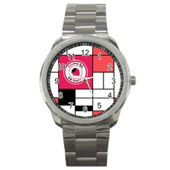Brand Strawberry Piet Mondrian White Stainless Steel Sports Watch (round)