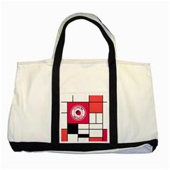 Brand Strawberry Piet Mondrian White Two Toned Tote Bag