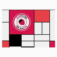 Brand Strawberry Piet Mondrian White Single Sided Handkerchief