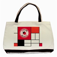 Brand Strawberry Piet Mondrian White Twin-sided Black Tote Bag