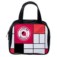 Brand Strawberry Piet Mondrian White Single Sided Satchel Handbag