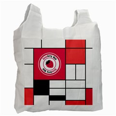 Brand Strawberry Piet Mondrian White Twin-sided Reusable Shopping Bag