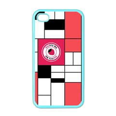 Brand Strawberry Piet Mondrian White Apple iPhone 4 Case (Color)