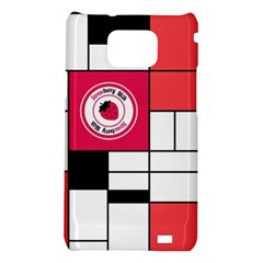 Brand Strawberry Piet Mondrian White Samsung Galaxy S II i9100 Hardshell Case