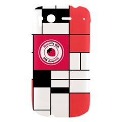 Brand Strawberry Piet Mondrian White HTC Desire S Hardshell Case