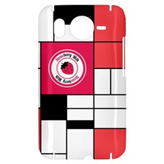 Brand Strawberry Piet Mondrian White HTC Desire HD Hardshell Case