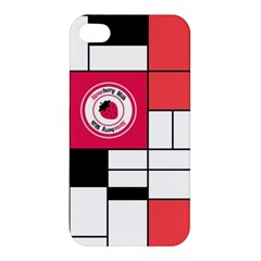 Brand Strawberry Piet Mondrian White Apple iPhone 4/4S Premium Hardshell Case