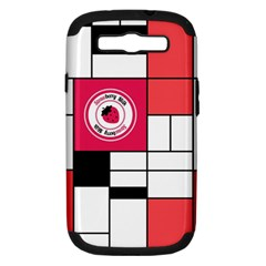 Brand Strawberry Piet Mondrian White Samsung Galaxy S Iii Hardshell Case (pc+silicone)