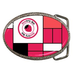 Brand Strawberry Piet Mondrian Pink Belt Buckle (oval)