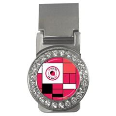 Brand Strawberry Piet Mondrian Pink Money Clip with Gemstones (Round)