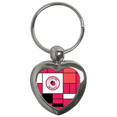Brand Strawberry Piet Mondrian Pink Key Chain (Heart)