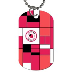 Brand Strawberry Piet Mondrian Pink Single-sided Dog Tag