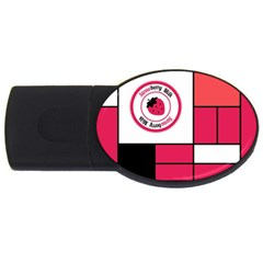 Brand Strawberry Piet Mondrian Pink 2Gb USB Flash Drive (Oval)