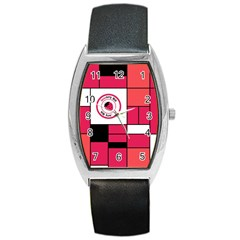 Brand Strawberry Piet Mondrian Pink Black Leather Watch (Tonneau)