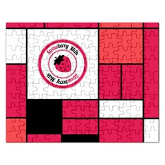Brand Strawberry Piet Mondrian Pink Jigsaw Puzzle (Rectangle)