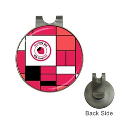 Brand Strawberry Piet Mondrian Pink Hat Clip with Golf Ball Marker