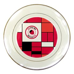 Brand Strawberry Piet Mondrian Pink Porcelain Display Plate