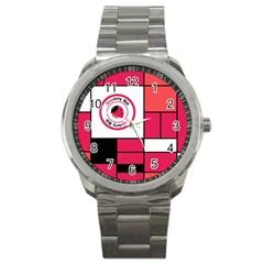 Brand Strawberry Piet Mondrian Pink Stainless Steel Sports Watch (Round)