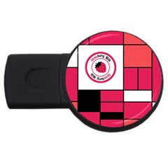 Brand Strawberry Piet Mondrian Pink 4Gb USB Flash Drive (Round)