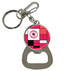 Brand Strawberry Piet Mondrian Pink Key Chain With Bottle Opener