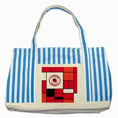 Brand Strawberry Piet Mondrian Pink Blue Striped Tote Bag