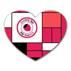 Brand Strawberry Piet Mondrian Pink Mouse Pad (Heart)