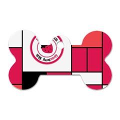 Brand Strawberry Piet Mondrian Pink Twin Sided Dog Tag (bone)