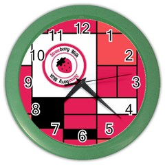 Brand Strawberry Piet Mondrian Pink Colored Wall Clock