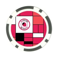 Brand Strawberry Piet Mondrian Pink Poker Chip