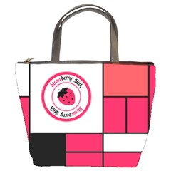 Brand Strawberry Piet Mondrian Pink Bucket Handbag