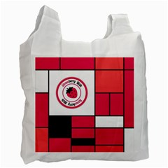Brand Strawberry Piet Mondrian Pink Single Sided Reusable Shopping Bag