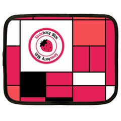 Brand Strawberry Piet Mondrian Pink 15  Netbook Case