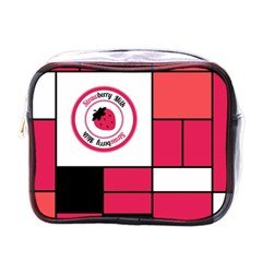 Brand Strawberry Piet Mondrian Pink Single-sided Cosmetic Case