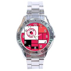 Brand Strawberry Piet Mondrian Pink Stainless Steel Analogue Watch (round)