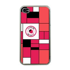 Brand Strawberry Piet Mondrian Pink Apple iPhone 4 Case (Clear)