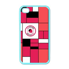 Brand Strawberry Piet Mondrian Pink Apple iPhone 4 Case (Color)