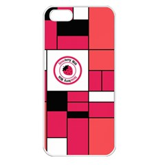 Brand Strawberry Piet Mondrian Pink Apple Iphone 5 Seamless Case (white)