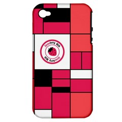 Brand Strawberry Piet Mondrian Pink Apple iPhone 4/4S Hardshell Case (PC+Silicone)