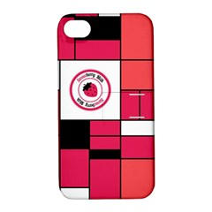 Brand Strawberry Piet Mondrian Pink Apple Iphone 4/4s Hardshell Case With Stand